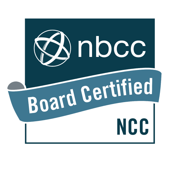 Official badge acknowledging Rachel Hiraldo as a National Certified Counselor recognized by the National Board, NBCC.